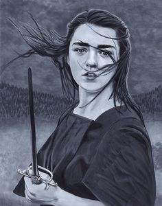 Maisie Williams as Arya Stark from Game of Thrones. Artwork done with Copic markers and black ink pens.
