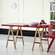 Red saw horse table