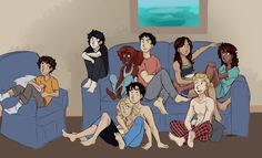 Demigod Sleepover!! :-D from left to right - LEO!! Nick hazel Frank Reyna Piper and on the floor Anna Beth Percy and the jason