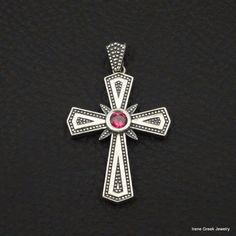 LUXURY PINK RUBY CZ BYZANTINE 925 STERLING SILVER GREEK HANDMADE ART CROSS #IreneGreekJewelry #Pendant