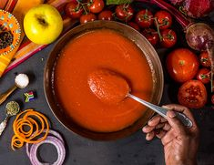 A delicious but simple rich tomato health soup that is made from 100% vegetables and fruit without any added starch thickeners you would normally find in soups. This healthy soup will pleasantly surprise you with its balanced flavours, it has all the antioxidant benefits of brightly coloured veg. This soup is great as a base for your pasta sauce or can be reduced further as a tomato base in any of your recipes. What You Eat, Healthy Soup, Soups, Pasta, Fruit, Vegetables, Simple, Ethnic Recipes, Food