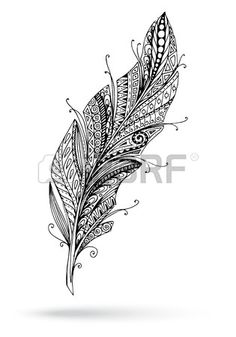 Artistically drawn stylized feather on a vector by Julia_Snegireva on VectorStock® Tribal Feather, Feather Art, Feather Tattoos, Tatoos, Quilling Patterns, Zentangle Patterns, Background Vintage, Background Patterns, Feather Drawing