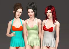 Baby Doll One Piece Swimsuit ~ NyGirl Sims maternity enabled adult [to download]
