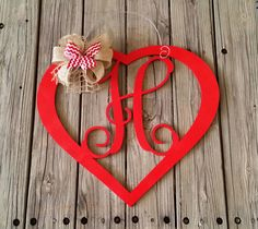 Valentine Door Hanger - Personalized Heart Door Hanger - Valentine's Day Decor - Personalized Valentine Wreath by NeedmoreHeart on Etsy https://www.etsy.com/listing/267477358/valentine-door-hanger-personalized-heart