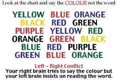 Left brain Versus Right Brain / Read The Color And Not The Word.  What Will You Do?