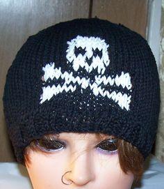Skull & Crossbones Hat Beanie Hand Knit MADE TO by NovaBlondie