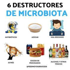 DESTRUCTORES DE LA MICROBIOTA La microbiota intestinal o flora intestinal es un conjunto de microorganismos formados de muuuuuuchas bacterias que se alojan en nuestro intestino. La flora nos ayuda a digerir los alimentos y mantiene el bienestar de la mucosa intestinal protegiéndola de elementos dañinos. Entre sus funciones la microbiota participa en la respuesta inmunitaria. SI! En el intestino es donde se encuentran gran parte de las celulcas del sistema inmunitario y por ello personas que t Flora Intestinal, Diabetes, Healthy Recipes, Healthy Food, Personal Care, Bullets, Control, Breakfast Ideas, Ideas Para