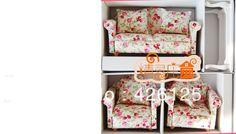 4pcs Dollhouse Miniature Living Room Furniture Set Wood Fabric Sofa Couch Table
