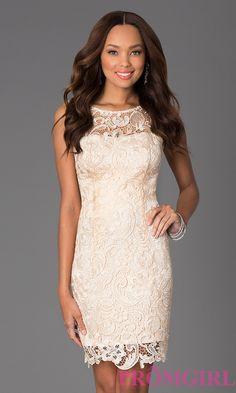 af86e082a7f Image of knee length lace v-back sleeveless dress Detail Image 3 Lace  Dresses