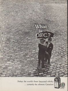 """Description: 1959 O.F.C. vintage print advertisement """"What is O.F.C.?""""-- Perhaps the world's finest Imported whisky ... certainly the ultimate Canadian -- Size: The dimensions of the full-page advertisement are approximately 8.5 inches x 11.5 inches (22cm x 29cm). Condition: This original vintage advertisement is in Very Good Condition unless otherwise noted ()."""