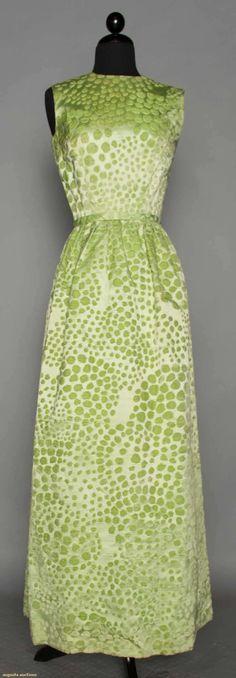 MAINBOCHER CUT VELVET EVENING GOWN, 1960. New York City Sample dress w/ original workroom tag