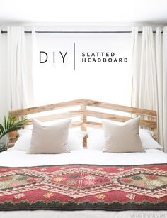 Easy DIY Slatted Headboard Tutorial for an eclectic boho bedroom makeover Boho Bedroom Decor, Home Bedroom, Modern Bedroom, Bedroom Vintage, Decor Room, Master Bedroom, Bohemian Bedding, Bedroom Rustic, Stylish Bedroom