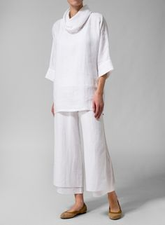 White linen cowl-neck top over double-layer white linen pants : MISSY Clothing