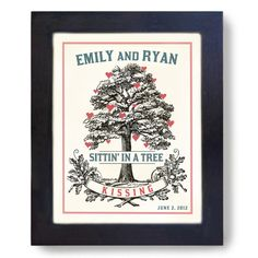 Personalized Bridal Shower Wedding Gift for Couples Tree by DexMex, $16.00