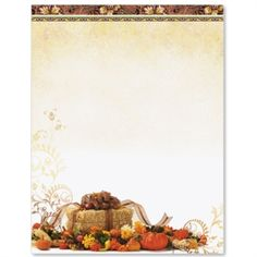 recipes for kids Harvest of Plenty Letter Paper Letterhead Paper, Stationary Printable, Medieval Recipes, Computer Paper, Recipe Scrapbook, Fall Pumpkins, Harvest, Stationery, Printables