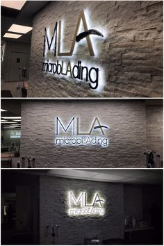 Another illuminated lobby sign we made for Microblading LA Entrance Signage, Office Signage, Wall Logo, Logo Sign, Logo Publicidad, Pharmacy Design, Interior Logo, Beauty Salon Decor, Dental Office Design