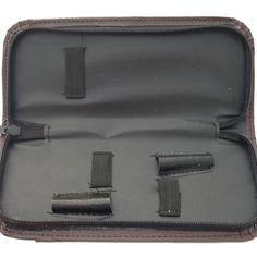 PU Leather Scissor Case Zipper Bag 2 Hair Scissors Holster Pouch Holder