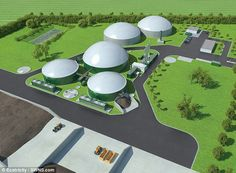 Artists impression of Dale Vince's planned grass to gas plant. The new industry would pump £7.5 billion ($9.3 billion) each year into the economy and create up to 150,000 jobs, claims Mr Dale