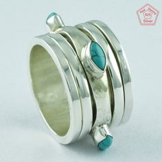 Sz 7.5 US, TURQUOISE STONE FASHION DESIGN 925 STERLING SILVER SPINNER RING,R4983 #SilvexImagesIndiaPvtLtd #Spinner #AllOccasions