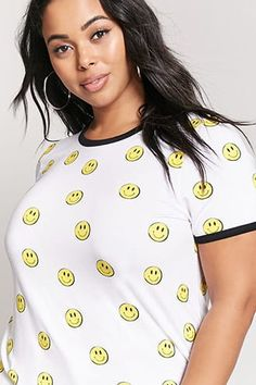 cc451185bb190 Plus Size Happy Face Ringer Tee Forever 21 Plus