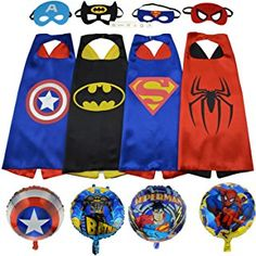 Superhero Costumes (4 Satin Capes and 4 Felt Masks) and Superhero Party Supplies for Kids