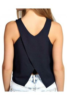 Jazz up your look in this navy blue synthetic sleeveless stylish back neck top for women Trendy Tops For Women, Jazz, Basic Tank Top, That Look, Navy Blue, Tank Tops, Stylish, Womens Fashion