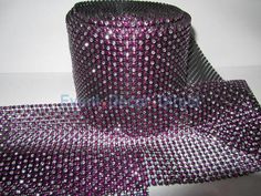 Hot Pink and Silver Rhinestone Mesh - 30 Foot Roll
