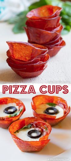 Low Carb Pizza Cups - Quick and easy keto snack idea! This easy keto snack idea is a delicious finger food everyone will love! Great as a party appetizer, too. You can easily make the pepperoni cups i Low Carb Appetizers, Finger Food Appetizers, Appetizer Recipes, Snack Recipes, Keto Finger Foods, Appetizer Ideas, Easy Finger Food, Finger Food Recipes, Finger Food Parties