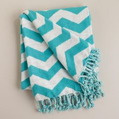 Turquoise and White Chevron Throw >> #WorldMarket Movie Night Giveaway Sweepstakes http://sweeps.piqora.com/worldmarket