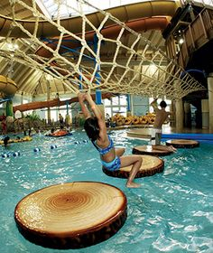 America's Coolest Indoor Water Parks - Natalie Humble - HOME Trampolines, Outdoor Pool, Indoor Outdoor, Ideas De Piscina, Small Lake, Dream Pools, Cool Pools, Pool Designs, Playground