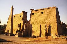 The pylon of Ramses II, entrance to the Temple of Luxor.