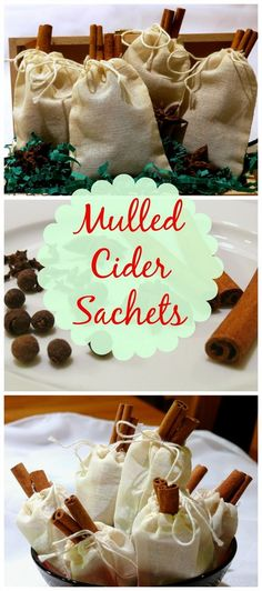 Mulled Cider Sachets, perfect hostess gifts for the homemade holidays. Great place card holders too.