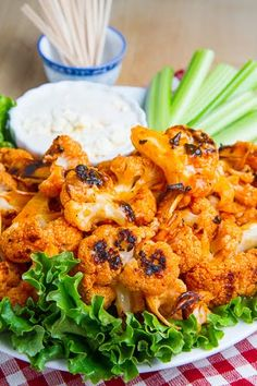 Buffalo Roasted Cauliflower - Roast florets with a bit of oil in 400F oven for 20-30 min, then toss with wing sauce and swerve with blue cheese dressing.