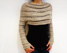 Knitting Pattern - Oatmeal Cropped Thumb Hole Sweater/ Chunky Knit Shrug