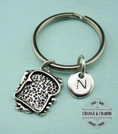 Sandwich Keychain, Sandwich Charm, Food Keychain, Friend Keychain, Initial Keychain, Monogram, Custom Keychain, Personalized Keychain,CFD006