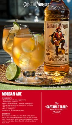 Tea Party! Brew up refreshing tasting Captain Morgan Morgan-ade today. A spectacular iced tea mixed drink beyond the ordinary. #drinkrecipe #drinks #TheCaptainsTable