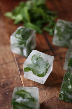 freeze mint leaves for mojitos and maybe edible flowers for a punch bowl . . . .