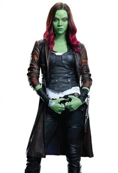 Guardians of the Galaxy Vol 2 Gamora Coat in Trench Leather by Zoe Saldana.