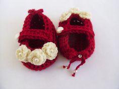 Красный или темно-синий - Детское вязание крючком обувь Мэри Джейн с розами, жемчугом, алмазами и мини лук новорожденных до одного года старые модели #005