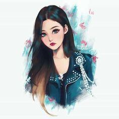Image in Character illustration collection by Jung Kyung-Soon Girly Drawings, Kpop Drawings, Digital Art Girl, Digital Portrait, Black Pink Kpop, Cartoon Art Styles, Blackpink Photos, Pink Art, Jennie Blackpink