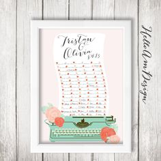 Unique Wedding Guest Book Retro Decor Blush Pink Sweetheart Table