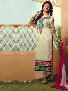 Cream Georgette Suit With Embroidery Work www.saree.com