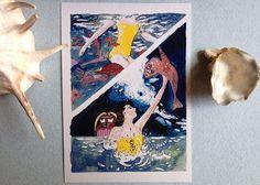 Cartolina ritratto dell'estate arte marina pop