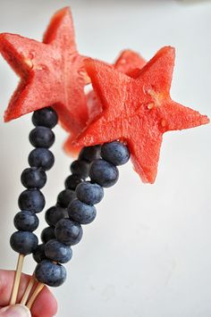 Watermelon and Blueberry Sparklers - an easy, cute way to celebrate the 4th of July. #vegan #vegetarian   Shiny Happy Bright