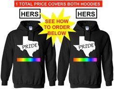 TEXAS PRIDE Hers and Hers Lgbtq Pride Hoodie by ALLGayTees on Etsy