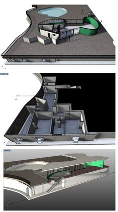 Oscar Niemeyer Architecture: Screenshots of the Casa das Canoas virtual model showing the different levels in section.  Software: VisualARQ