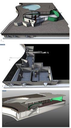 Capturas de pantalla del modelo virtual de la Casa das Canoas mostrando los distintos niveles en sección.