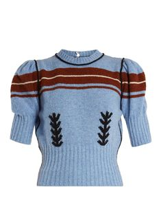 Click here to buy Miu Miu Embroidered and striped-intarsia wool knit sweater at MATCHESFASHION.COM