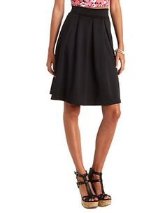 Pleated High-Waisted Full Midi Skirt: Charlotte Russe S