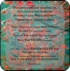 Feelings vs. God's Word {M. Luther}